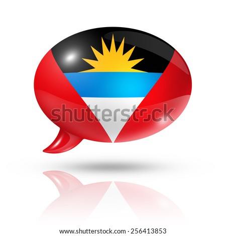three dimensional Antigua and Barbuda flag in a speech bubble isolated on white with clipping path - stock photo