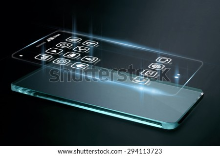 Three dimensional apps on smartphone screen. A 3D phone is a mobile phone that conveys depth perception to the viewer by employing stereoscopy or any other form of 3D depth techniques. - stock photo