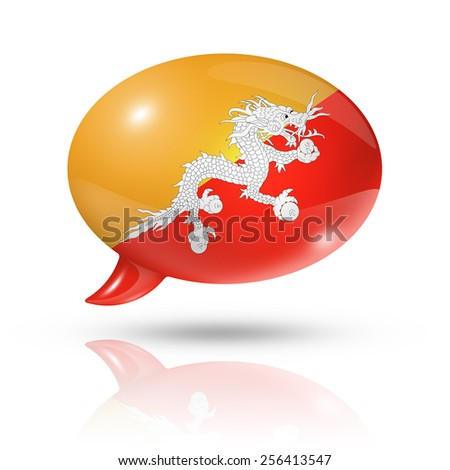 three dimensional Bhutan flag in a speech bubble isolated on white with clipping path - stock photo