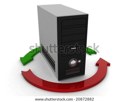 three dimensional black cpu with profit and loss arrow - stock photo