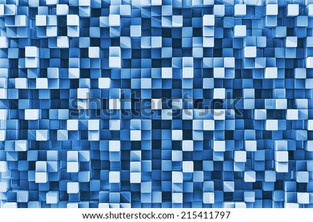 Three Dimensional blue checkered reflective cube background - stock photo