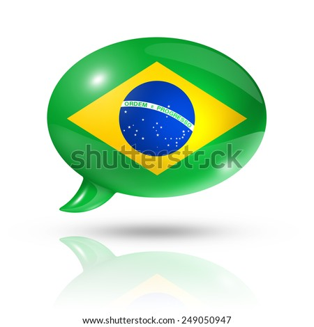 three dimensional Brazil flag in a speech bubble isolated on white with clipping path - stock photo