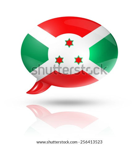 three dimensional Burundi flag in a speech bubble isolated on white with clipping path - stock photo