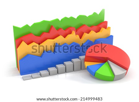 three dimensional colorful charts over white background - stock photo