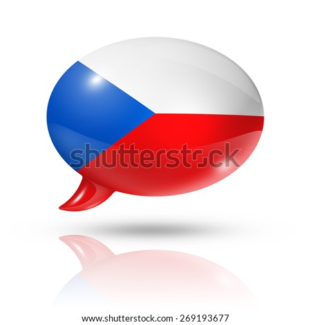 three dimensional Czech Republic flag in a speech bubble isolated on white with clipping path - stock photo