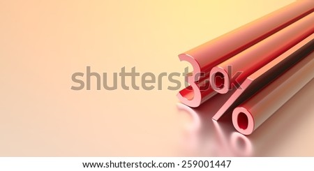 Three dimensional discount text, copy space image. - stock photo