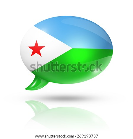 three dimensional Djibouti flag in a speech bubble isolated on white with clipping path - stock photo