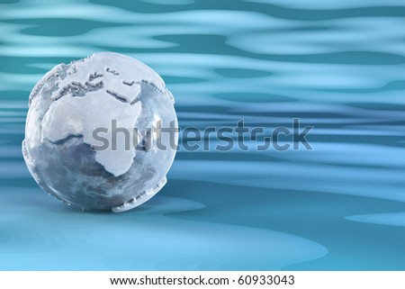 Three-dimensional earth from ice on blue background. 3d - stock photo