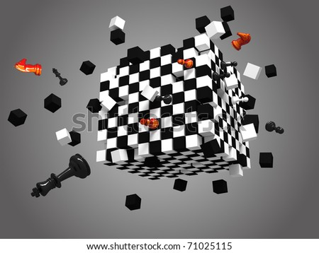three dimensional exploded chess cube on gray background - stock photo