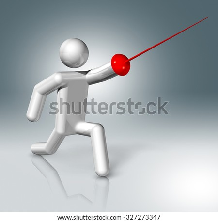 three dimensional fencing symbol - stock photo