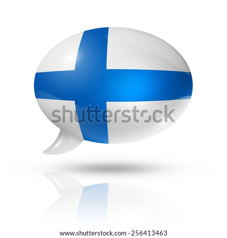 three dimensional Finland flag in a speech bubble isolated on white with clipping path - stock photo