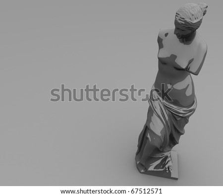 three-dimensional, glossy, gray statue of Venus on the dull gray plane in perspective - stock photo