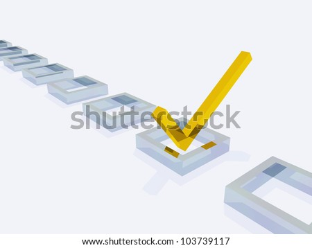 Three Dimensional Gold Check Mark with Silver Boxes - stock photo