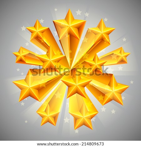 Three-dimensional golden stars on grey background. - stock photo