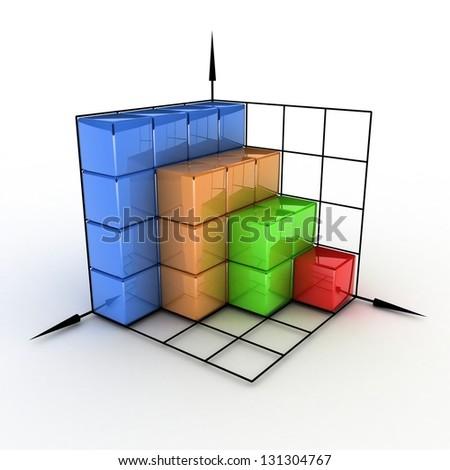 three-dimensional graph - stock photo