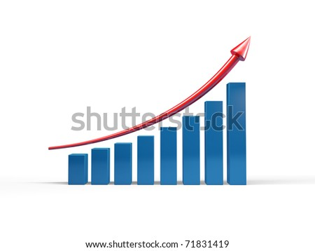 Three-dimensional graph to growth - stock photo
