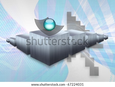 Three dimensional illustration of a bar graph or chart to denote profit or loss statistics for websites or other data related fields. - stock photo
