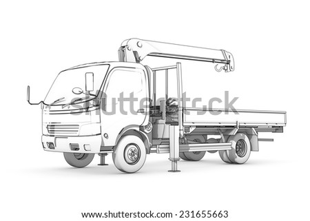 Three-dimensional illustration of black-and-white sketch of small truck with crane - stock photo
