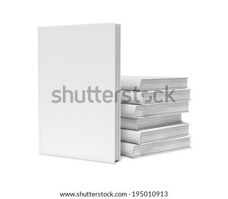 Three-dimensional illustration of white blank books on white background - stock photo