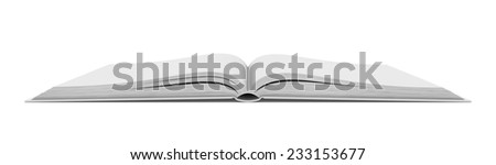 Three-dimensional illustration of white blank open book on white background - stock photo