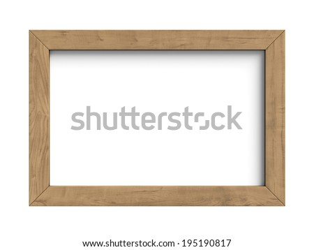 Three-dimensional illustration of wooden frame isolated on a white background - stock photo