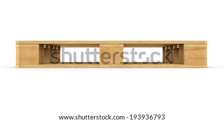 Three-dimensional illustration of wooden pallet isolated on a white background - stock photo