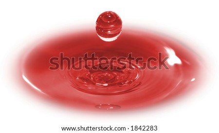 Three dimensional image of a drop of blood.  A conceptual shot of Christ's sacrifice. - stock photo