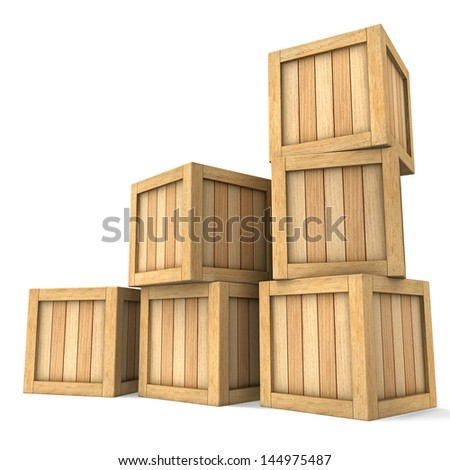 Three dimensional image of a heap of wooden boxes on a white background. - stock photo