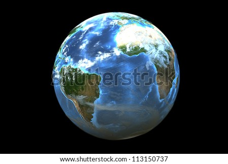 Three dimensional image of planet earth. South America side - stock photo