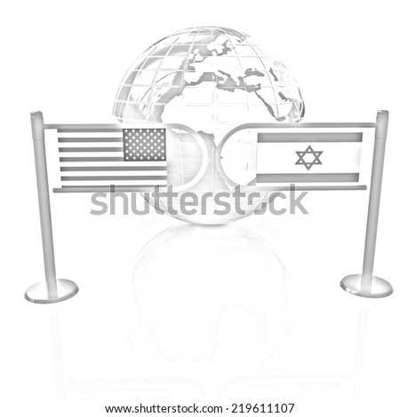 Three-dimensional image of the turnstile and flags of America and Israel on a white background. Pencil drawing  - stock photo