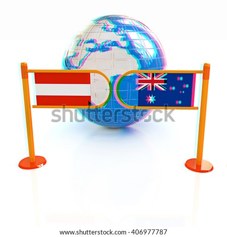 Three-dimensional image of the turnstile and flags of Australia and Austria on a white background . 3D illustration. Anaglyph. View with red/cyan glasses to see in 3D. - stock photo