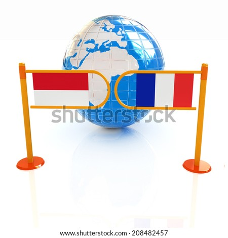 Three-dimensional image of the turnstile and flags of France and Monaco on a white background  - stock photo