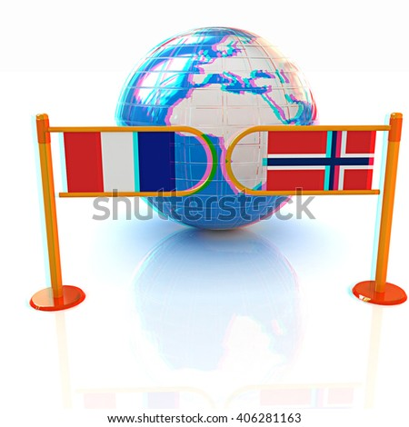 Three-dimensional image of the turnstile and flags of France and Norway on a white background . 3D illustration. Anaglyph. View with red/cyan glasses to see in 3D. - stock photo