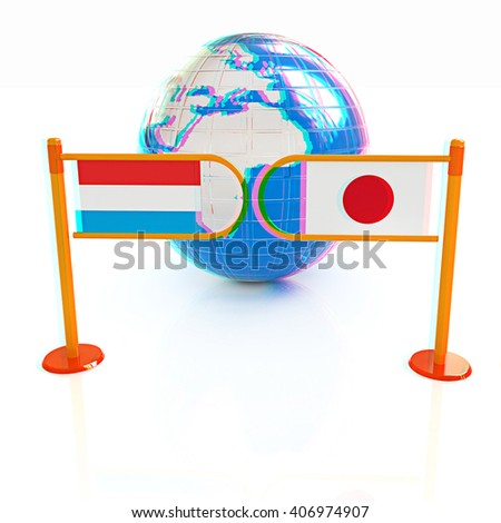 Three-dimensional image of the turnstile and flags of Japan and Luxembourg on a white background . 3D illustration. Anaglyph. View with red/cyan glasses to see in 3D. - stock photo