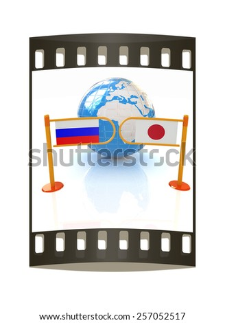 Three-dimensional image of the turnstile and flags of Japanese and Russia on a white background. The film strip - stock photo