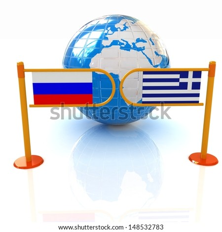 Three-dimensional image of the turnstile and flags of Russia and Greece on a white background - stock photo