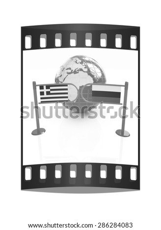 Three-dimensional image of the turnstile and flags of Russia and Greece on a white background. The film strip - stock photo