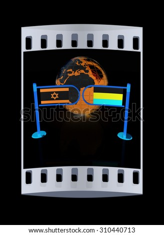 Three-dimensional image of the turnstile and flags of Russia and Israel on a black background. The film strip - stock photo