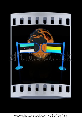 Three-dimensional image of the turnstile and flags of Russia and Syria on a black background. The film strip - stock photo