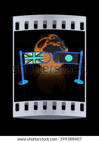 Three-dimensional image of the turnstile and flags of UK and Japan on a black background. The film strip - stock photo