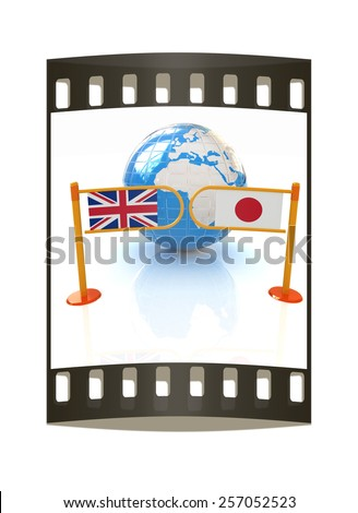 Three-dimensional image of the turnstile and flags of UK and Japan on a white background. The film strip - stock photo