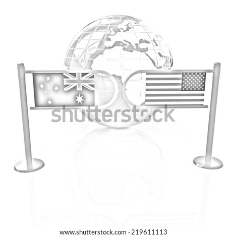 Three-dimensional image of the turnstile and flags of USA and Australia on a white background. Pencil drawing  - stock photo