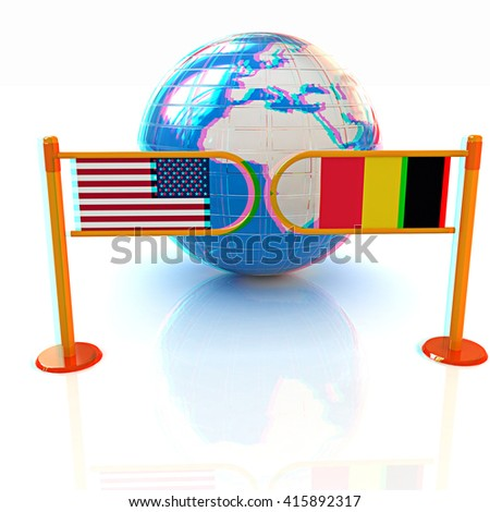 Three-dimensional image of the turnstile and flags of USA and Belgium on a white background . 3D illustration. Anaglyph. View with red/cyan glasses to see in 3D. - stock photo