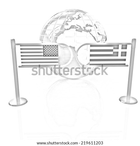 Three-dimensional image of the turnstile and flags of USA and Greece on a white background. Pencil drawing  - stock photo
