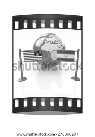 Three-dimensional image of the turnstile and flags of USA and Iran on a white background. The film strip - stock photo