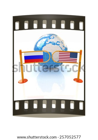 Three-dimensional image of the turnstile and flags of USA and Russia on a white background. The film strip - stock photo