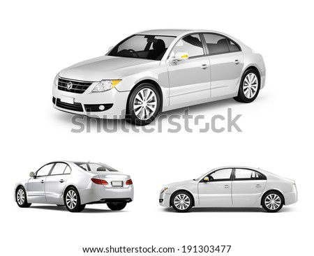 Three Dimensional Image of White Car - stock photo
