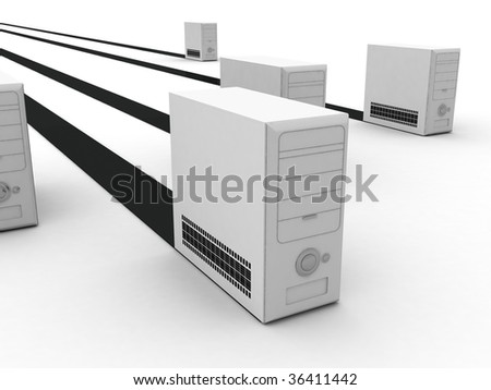 three dimensional isolated computer cabinets - stock photo