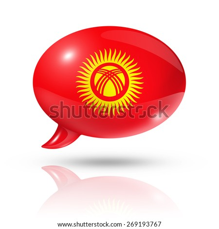 three dimensional Kyrgyzstan flag in a speech bubble isolated on white with clipping path - stock photo