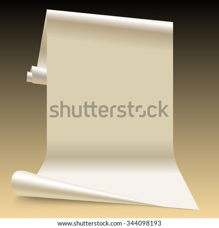 Three dimensional lit white paper sheet.  Wallpaper segment - stock photo